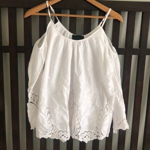 Cynthia Rowley Off The Shoulder Lace Blouse